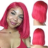Short Lace Front Bob Real Remy Human Hair Wigs Swiss Lace Frontal Middle Part Pre Plucked Bleached Knots Glueless Natural Hairline with Baby Hair 180% Density Silky Straight Full End Thick Rose 8 Inch