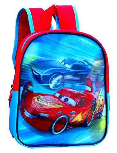 Coole-Fun-T-Shirts CARS Rucksack Kinderrucksack für Jungen und Mädchen holografisch LIGHTNING MCQUEEN KITA Schule Kindergarten Grundschule Sport Training Kindergeburtstag 27X22X8cm rot
