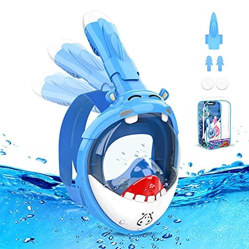 Tesoky Masque Plongee Enfant, Masque Plongee Integrale avec Fonction Anti-buée Facile à Respirer...