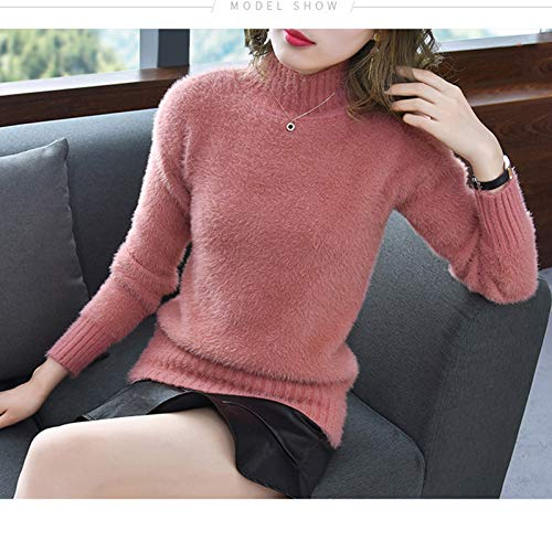 XIAOHU Pullover Winter Knitted Mohair Sweater Woman Plus SizeWool Imitation Water Velvet Sweater Ladies Long Sleeved