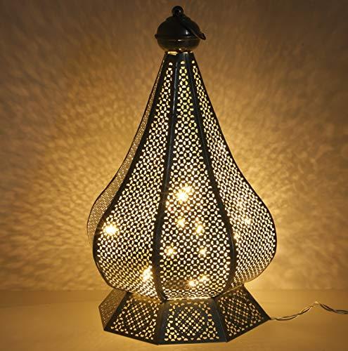 Guru-Shop Lanterne Orientale en Métal au Design Marocain, Lanterne - Design Argent 2, Silver, 35x21x21 cm, Lanternes Orientales