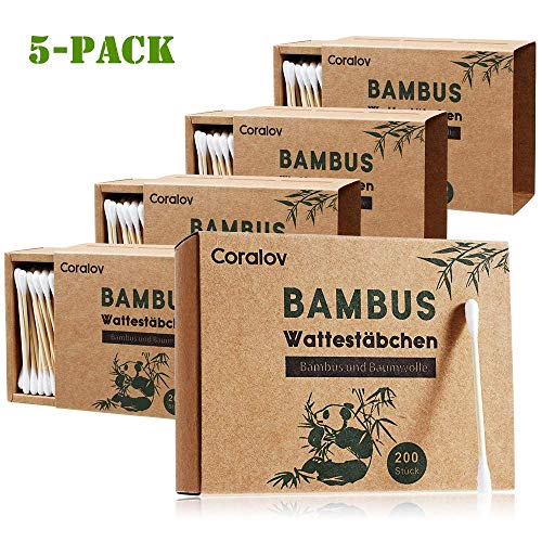 Bamboo Cotton Swab 1000PCS Double Cotton Buds bamboo Cotton Bud Eco organic bamboo ear swab for Ear Skin Jewelry Art Pet Cleaning Craft Paper Packaging (5 PACKS OF 200 STICKS)