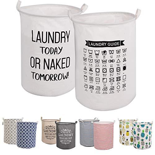 """LessMo 2PCS 17.7"""" Wäschekorb Sortierer – Faltbar - 2er Set Wäschesammler spart Zeit beim Sortieren - Wäschesack - Wäschekörbe - Laundry Baskets - 45 x 35 cm (Weiß, Verdickt 17,7""""/ Medium)"""