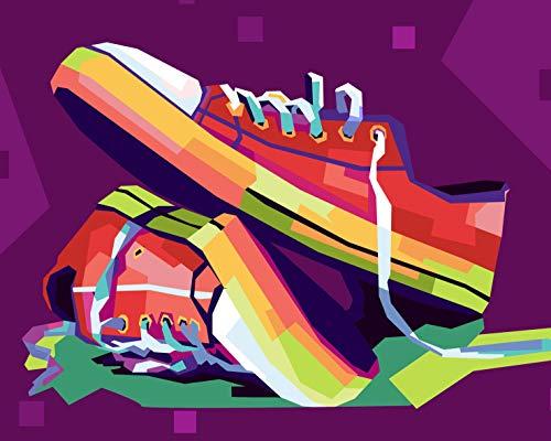Verf door cijfers voor volwassenen en kinderen DIY olieverfartikelen Cadeausets Voorgedrukte Canvas Art Home Decoratie -Kleur Sneakers 30x40cm