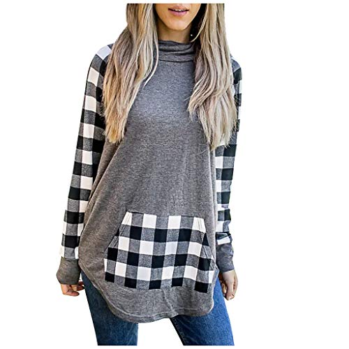 EUCoo Las mujeres de moda bufanda cuello a cuadros empalme manga larga suéter blusas tops (T)