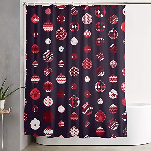 Befectar Premium No Punching Christmas Ornament Balls Shower Curtain Bathroom with 12 Hooks 70×70 Inch Eco-Friendly/Waterproof Moisture Proof Bathroom Decor - Apartment Camping Hotel