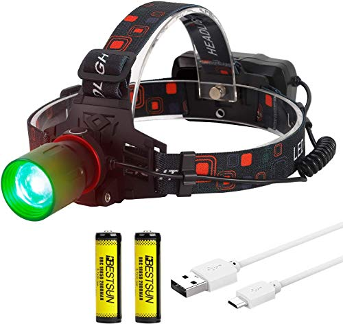 LUXNOVAQ Linterna LED Verde Linterna Frontal LED Verde Linterna Frontal Recargable USB...