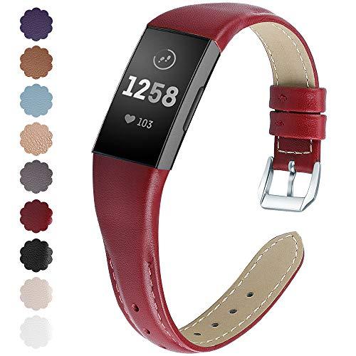 KIMILAR Armbänder Kompatibel mit Fitbit Charge 4 / Charge 3 Armband Leder,Ersatzband Zweifarbig Band Uhrenarmband für Charge 4/3/SE Fitness Tracker Damen Herren -Rot,L