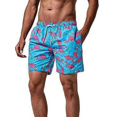 MaaMgic Mens Quick Dry Flamingo Swim Trunks With Mesh Lining Swimwear Bathing Suits, New-qma245-flamingo, Large