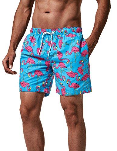 MaaMgic Herren Badeshorts SCHNELLTROCKNEND Boardshorts Trainingshose mit Mesh-Futter und Verstellbarem Tunnelzug MEHRWEG Blau Pink Flamingo L
