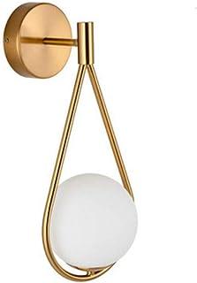 Industrial Lámpara de Pared Vintage E27 Retro Creativa Antiguo Metal Latón Aplique de Pared Interior con Blanco Lechoso Bola Cristal de Pantalla para Sala de Estar Dormitorio Baño Pasillo Dorado VOMI