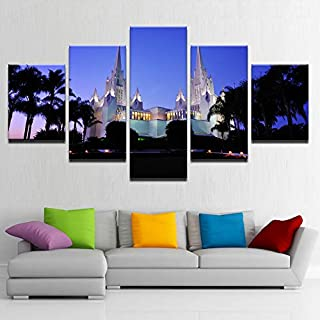 muvnhz 5 Piece Wall Art Holy Land Temple Painting Artwork Pictures for Modern Home Decor Mural HD Prints On Canvas Poster for Bedroom Living Room Decoration Frame