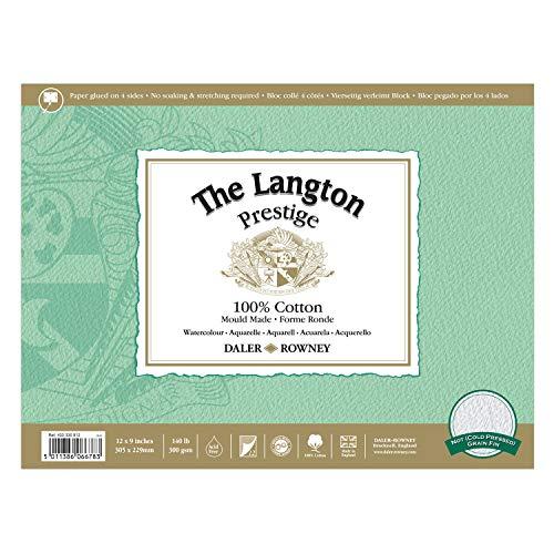 Daler-Rowney The Langton Prestige Cold Press ('Not') Watercolour Block 12x9'