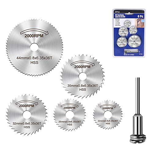WREOW 6pc 1/8' Shank High Speed Steel HSS Saw Disc Wheel Cutting Blades with Mandrels For Dremel Fordom Drills Rotary Tools