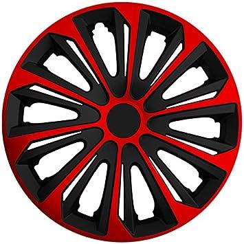 Autoteppich Stylers Größe Wählbar 15 Zoll Radkappen Radzierblenden Strong Bicolor Schwarz Rot Passend Für Fast Alle Fahrzeugtypen Universal Auto