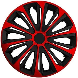 Autoteppich Stylers (Größe wählbar) 16 Zoll Radkappen/Radzierblenden Strong Bicolor (Schwarz Rot) passend für Fast alle Fahrzeugtypen – universal