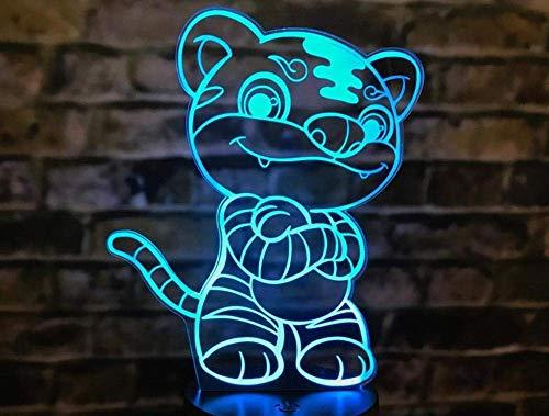 Nachtlampje, 3D-nachtlampje, bedriegingtafel, Chinees sterrenbeeld, touchwissel, koeien, muis, konijnen, tijger, slang, varken, hond dier