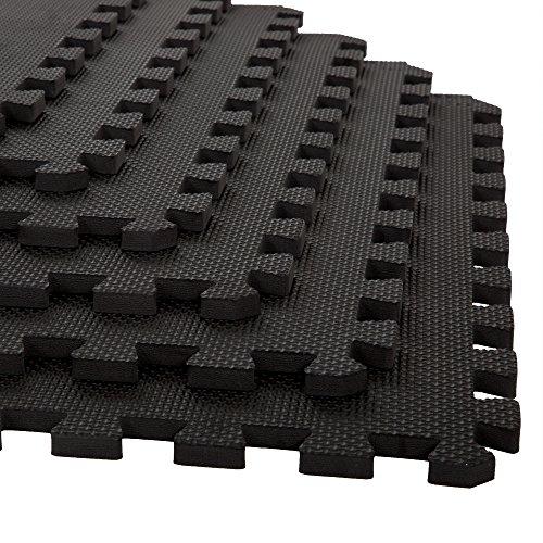 "Stalwart Foam Mat Floor Tiles, Interlocking EVA Foam Padding Soft Flooring for Exercising, Yoga, Camping, Kids, Babies, Playroom – 6 Pack, 24"" X 24"" X 0.5"", Black, Model:75-ST6001"