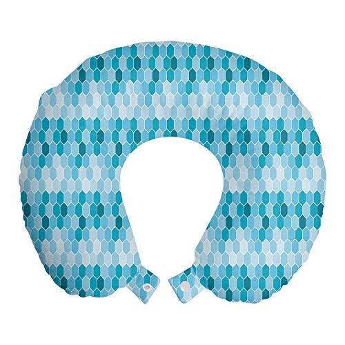 ABAKUHAUS Abstrakt Reisekissen Nackenstütze, Pool Tile Honeycomb Kunst, Schaumstoff Reiseartikel für Flugzeug und Auto, 30x30 cm, Sea Blue Blau