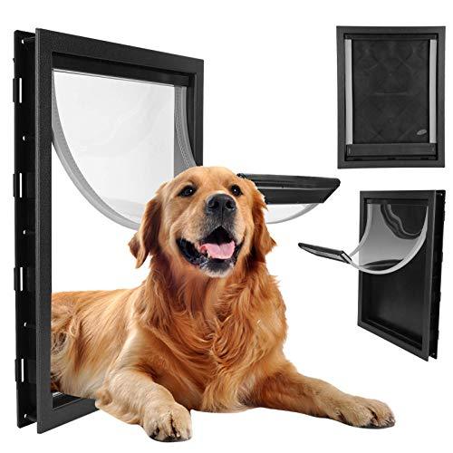 Groot huisdierluik, grote middelgrote verwijderbare installatiedeur voor binnenshuis buitendeuren, eenvoudige installatie voeding voor hondenluik Ingebouwde magneet(Zwart)
