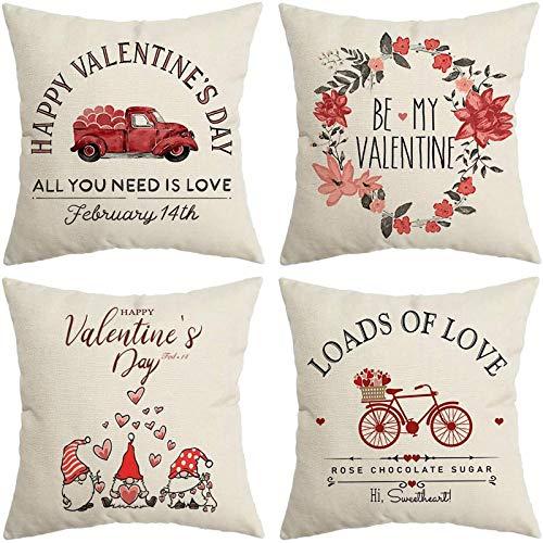 Juego de 4 fundas de almohada para el día de San Valentín para sofá, cama, coche, 45 x 45 cm