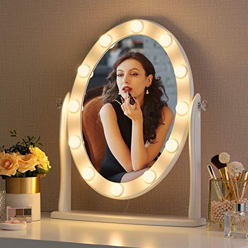 LUXFURNI Hollywood Espejo de maquillaje vintage con 12 luces LED, control táctil regulable luz fría/cálida, ángulo ajustable para tocador