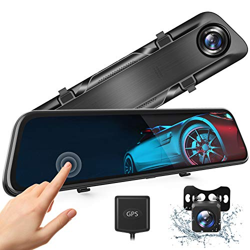 """Van Top H612T 12"""" 4K Mirror Dash Cam for Cars, Voice Control Full Touch Screen Rear View Mirror Camera, GPS Tracking, Waterproof Backup Camera 2.5K Max, 8MP Sony Sensor for Super Night Vision"""