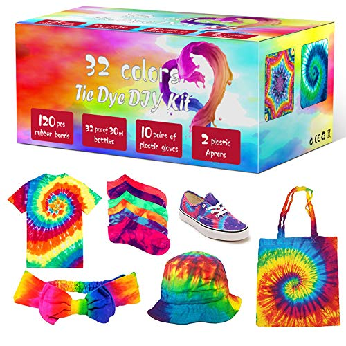 Tie Dye Kit, 32 Colors Fabric Dye Art Kit for Kids, Adults and Groups with Rubber Bands, Gloves, Plastic Film and Table Covers, Add Water Only for Party Gathering Festival User-Friendly