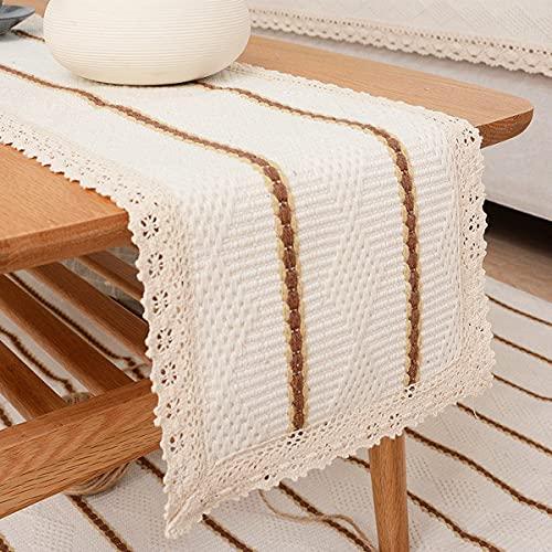 SHULOOK Camino de mesa moderno beige blanco rectangular de macramé camino de mesa de algodón tejido retro casa de campo y camino de mesa bohemio para boda (blanco, 30 x 120 cm)