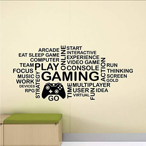yiyiyaya Gaming Wandtattoo Wortwolke Video Gamer Kinder PS4 Xbox Controller Zeichen Poster Vinyl Aufkleber raumdekor Spiel Wandbild 42 * 90 cm