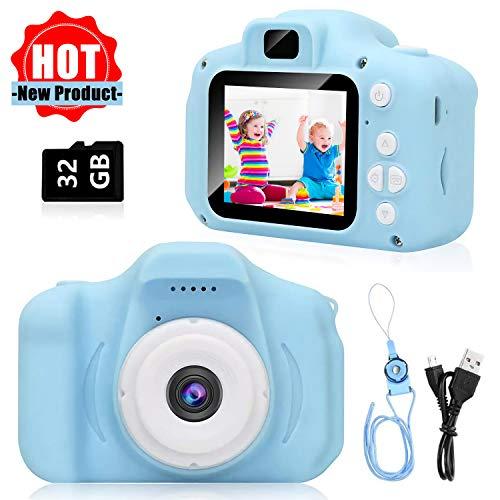 Kinder Kamera, Kinderkamera Digital Fotokamera Selfie, 2 Zoll HD-Bildschirm 1080P 32 GB TF-Karte mit Spiel, Jungen und Mädchen Geschenke für 3 bis 12 Jahre alte (blau)