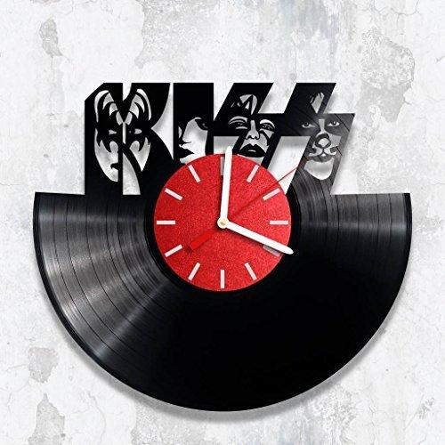 Vinyl Clock, KISS, Rock Fan Gift, Wall Clock, Handmade Clock, Birthday Gift, Wall Decor Gift