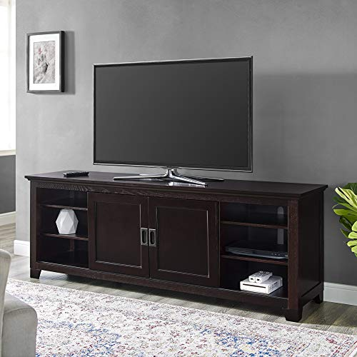 Walker Edison Furniture Company Traditional Wood Stand with Storage Cabinets for TV's up to 78' Living Room, 70 Inch, Espresso Brown