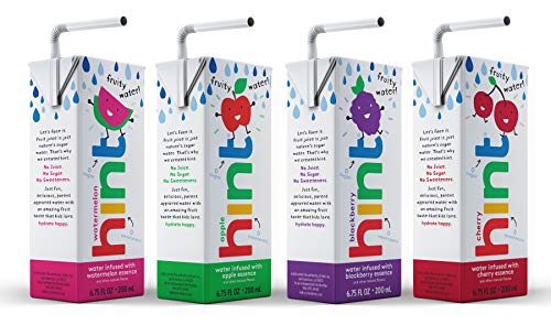 Hint Kids Water Variety Pack (Pack of 32), 6.75 Ounce Boxes, 8 Boxes Each of: Cherry, Watermelon, Apple, & Blackberry, Zero Sugar, Zero Sweeteners, Zero Preservatives, Zero Artificial Flavors