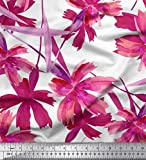 Soimoi Rosa Seide Stoff Blätter & Wild Blume Stoff
