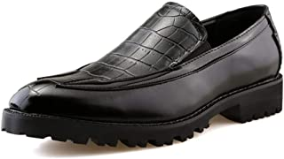 Yajie-shoes store, Men's Casual Oxford Front Crocodile Pattern Comfortable Slip On Outdoor Leisure Shoes (Color : Black, Size : 5 UK)