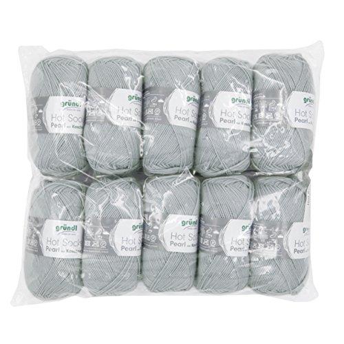 Gründl Hot Socks Pearl Uni, Vorteilspack 10 Knäuel à 50 g Sockenwolle, 75% Wolle (Merino Superwash), 20% Polyamid, 5% Kaschmir, Silbergrau, 40 x 37 x 11 cm