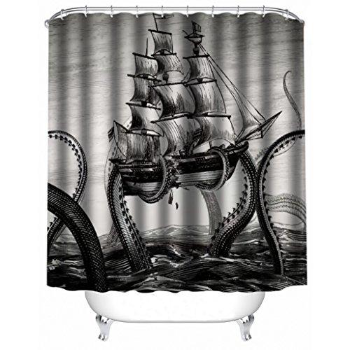 "ChenHang Custom Black and White Vintage Style Sea Monster Big Octopus Sailing Waterproof Fabric Shower Curtain 66""(w) x 72""(h) Bathroom Set Polyester Bath Curtain"
