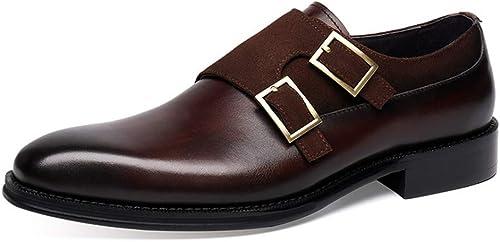 zapatos Clásicos de Piel para Hombre zapatos de Vestir de Cuero con Doble Correa de Monje para hombres, Estilo británico, mocasín Puntiagudo, cómodo y clásico de Negocios, zapatos de Boda