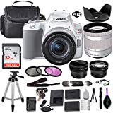 Canon EOS Rebel SL3 DSLR Camera (White) w/EF-S 18-55mm f/4-5.6 is STM Lens + Wide-Angle and Telephoto Lenses + Portable Tripod + Memory Card + Deluxe Accessory Bundle