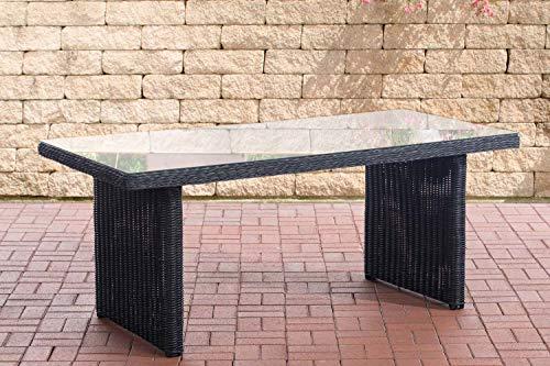 CLP Fontana - Mesa de polirratán con Tablero de Cristal, Resistente a la Intemperie, fácil de Limpiar, Negro