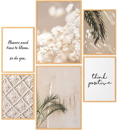 Papierschmiede Mood-Poster Set Bohemian   6 fertig gerahmte Bilder in Natur-Holzrahmen   2X DIN A3 und 4X DIN A4   Boho Lifestyle Peace Natur beige