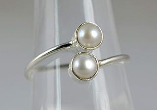 Anello in argento con perla d'acqua dolce, anello di perle, anello in argento massiccio 925, gioielli di perle, anello di ...