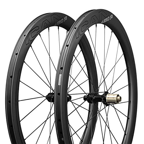 ICANIAN AERO 50 Laufradsatz Rennrad Scheibenbremse Carbon Laufräder Rennrad Disc 50mm Tief Drahtreifen Tubeless Ready Disc Brake 12x100 / 12x142mm Nur 1430g