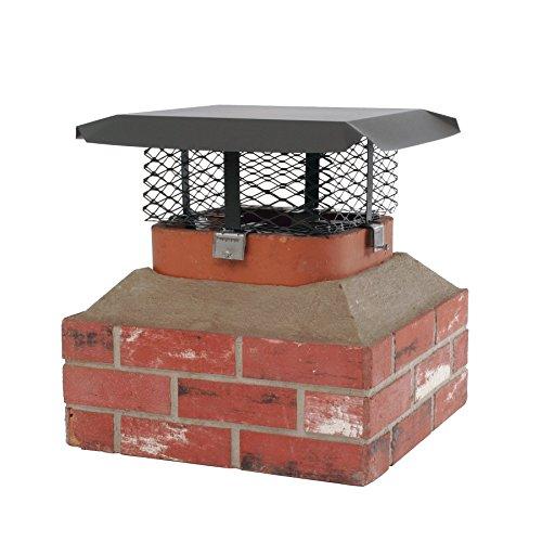 Shelter SCADJ-S Adjustable Clamp On Black Galvanized Steel Single Flue Chimney Cap (Renewed)
