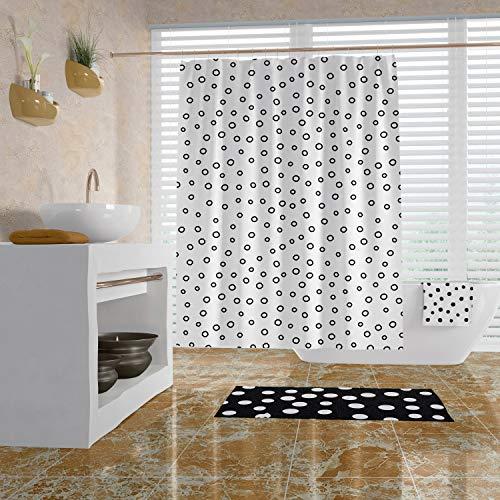 Foto Art cortina de ducha moderna decoración de baño, cortina de ducha en blanco y negro con lunares alfombra de baño y toallas de baño impermeable cortina con ganchos