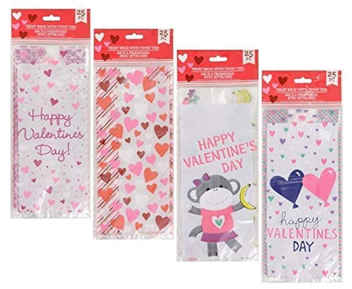 Valentine's Heart-Themed Cellophane Treat Bags with Twist Ties, 25-ct. Packs Great for Goody Bags and Candy Gifts Bags