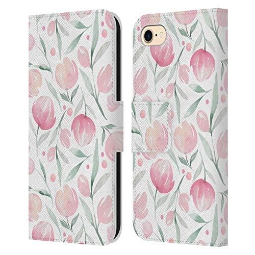 Head Case Designs Ufficiale Kristina Kvilis Tulipani La Primavera è Nell'Aria Cover in Pelle a Portafoglio Compatibile con Apple iPhone 7 / iPhone 8 / iPhone SE 2020