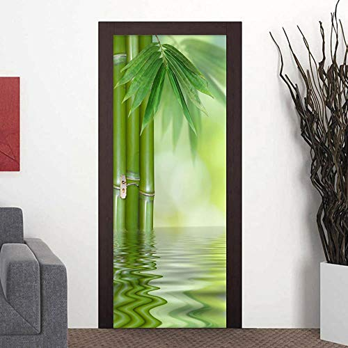 BXZGDJY 3D-deursticker, deurfolie, groene bamboe, 3D-deur, sticker, Europese stijl, boog, muurfoto, kunstbehang, posterdeur, sticker, plakfolie, zelfklevend 95X215CM