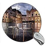 Not Applicable Zurigo Svizzera Sedie Luci Edifici Città Tappetino per Mouse Rotondo, Tappetini per Mouse da Gioco Personalizzati